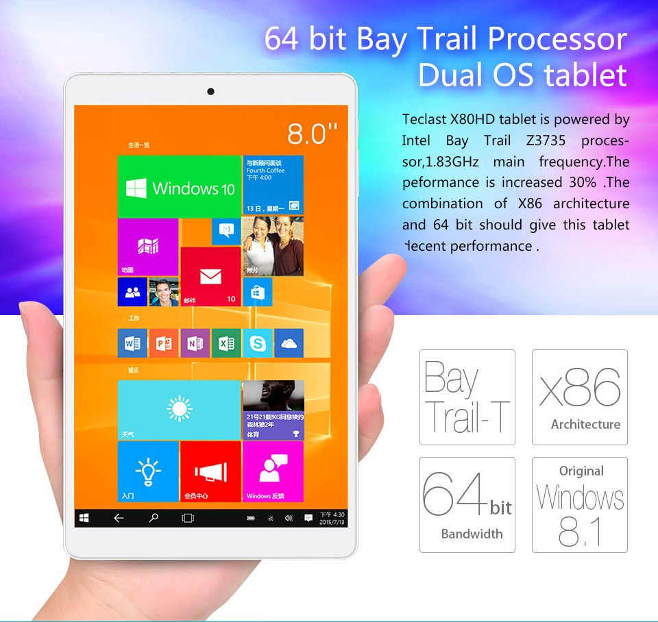 US $97 64 |Teclast X80HD Dual OS Windows 10 & Android 4 4 Tablet PC Intel  Quad Core 8inch 1280X800 IPS Screen 2GB/32GB HDMI BT4 0 on Aliexpress com |