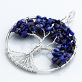Silver Tree Of Life Dyed Lapis Lazuli Gem Stone Beads Pendant For Necklace Men Women