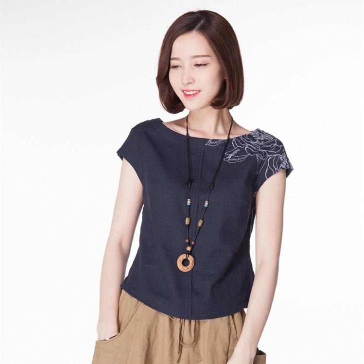 2018 Été Nouveau Style Courtes En Coton Et Lin Chemise T-shirt, Femme Manches Courtes, Littéraire Et Artistique Formation, col rond,