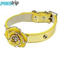 Lujo Diamante flor Bling perro Collar plomo cuero suave ajustable Collar para cachorros y gatos arnés