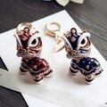 Lindo de la mascota amuleto de la suerte chino kylin llavero mujeres bolso de la cremallera para la muchacha adornos de joyería del regalo del amante