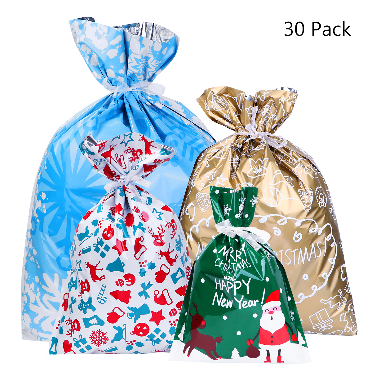 30PCS Christmas Gift Bags Cute Assorted Styles Drawstring Gift Wrapping Party Favors For Festival Christmas Holiday