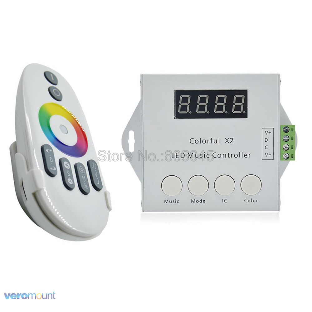 DC5V 12V 24V Colorful X2 Music RGB LED Controller Max 1000 Pixels with RF Touch Remote for WS2812B WS2811 WS2813 USC1903 Stripe m3 m4 5a m3 touch rf remote with m4 5a cv receiver led dimmer controller dc5v dc24v input 5a 4ch max 20a output