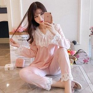 Image 3 - Pajamas female spring autumn Sexy Princess breeze Korean version fresh student long sleeved pure cotton two piece winter suit