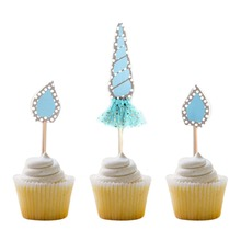Blue Glittery Unicorn Paper Cupcake Topper Wedding Birthday Party Cake Topper Baby Shower Favor 1sets Free Shipping