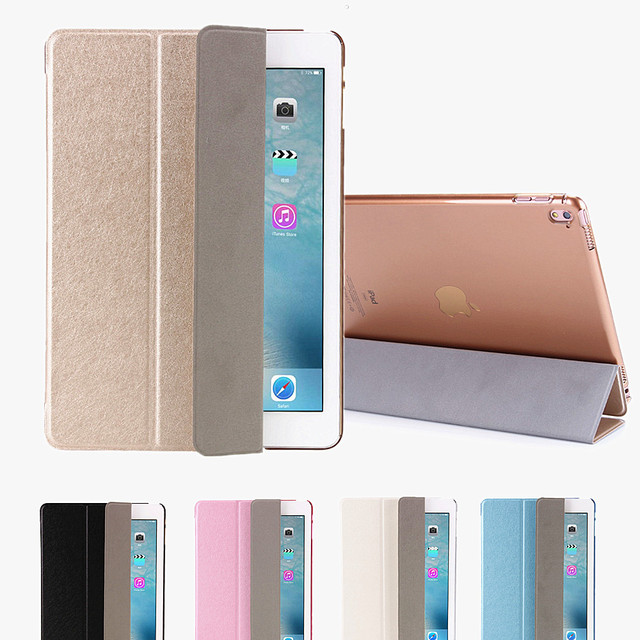 Silk Pattern Stand Style Ultra Slim Magnetic Leather Smart Case with Plastic back case for Ipad Pro 12.9 inch