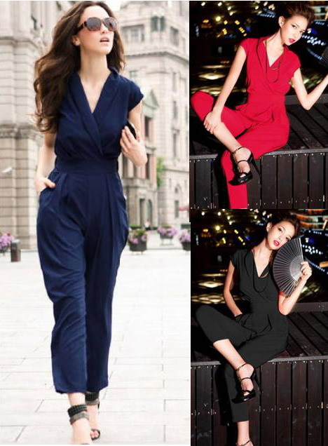 2016 fashion jumpsuit women rompers summer Ladies Office elegant overall Blue macacao feminino Work wear Playsuits Bodysuit - AOMEIDRESS Store store