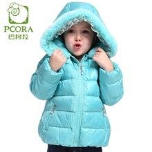 Pcora дети девочки зимнее пальто толстые куртки розовый и зеленый с капюшоном пальто кружевные украшения молния высокое качество бренда одежда