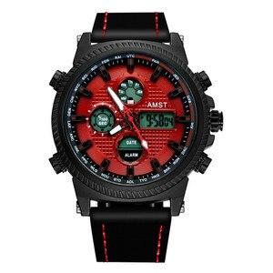 Image 4 - Amst 軍事腕時計 50 メートル防水レザーストラップ led 腕時計男性トップブランドの高級クォーツ時計リロイ hombre レロジオ masculino