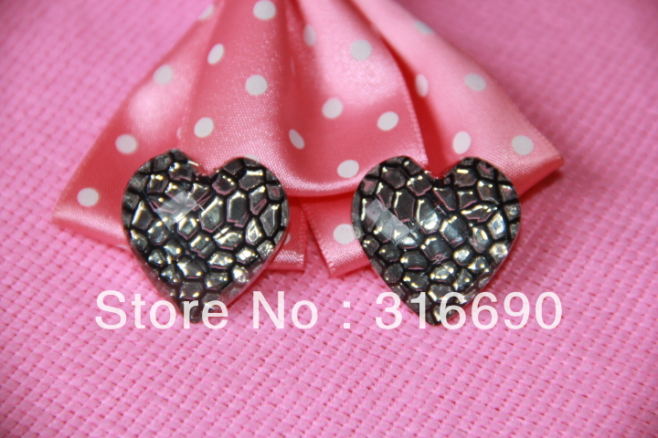 25mm Dark brown snake pattern heart flatback acrylic for DIY earring ring phone case 50pcs/lot