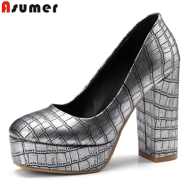 ASUMER Plus size 34-42 Basic new round toe platform shoes spring summer 11cm pumps women shoes high heels wedding shoes silver asumer plus size 34 43 new fashion sexy 13 5cm ultra high heels women pumps round toe gold glitter platform wedding shoes woman