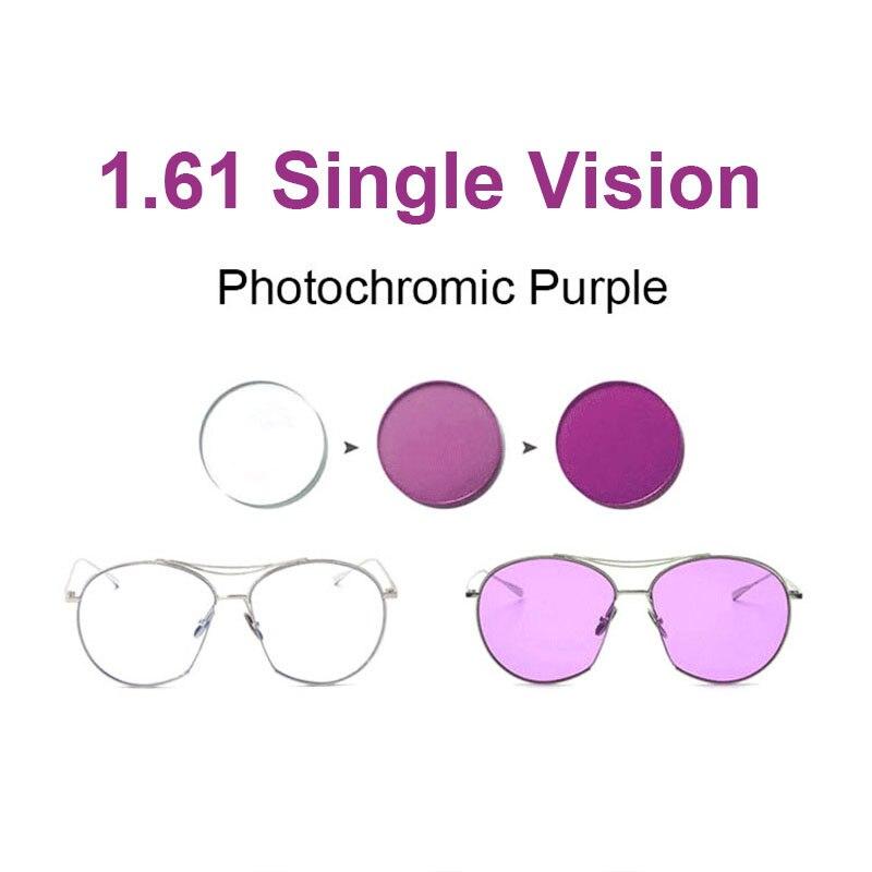 Objetivo fotocromático rosa o azul o morado 1,61, lentes de visión individuales, rango SPH-8,00 ~ + 6,00 Max CLY-6,00, lentes ópticas para gafas