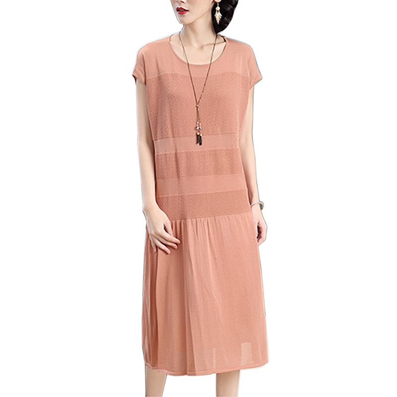 2018 sans manches Sexy soie longue robe d'été solide femmes soie robe lâche mode haute qualité décontracté élégant robe femme