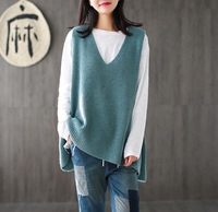 Women 2017 Spring Sleeveless Knitwear Ladies V Neck Knitted Vests Tanks Female Loose Sweaters Plus Size