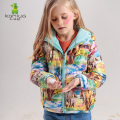 KAMIWA 2017 Girls Winter Coats Two-Way Animal World Printing White Duck Down Jackets Cotton-padded Parkas Children Clothes