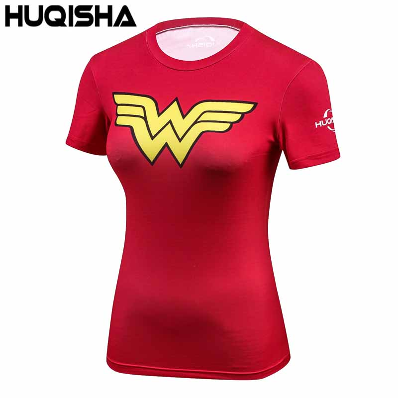 New Women Superman Shirts Compression T Shirt Superhero Bodybuilding Fitness Tights Tees Camiseta Feminina