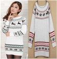 Women Sweater Dress Autumn Winter Reindeer Snowflake Knitted Pullovers Women's Mid-Long Slim Sweaters White Gray M8001