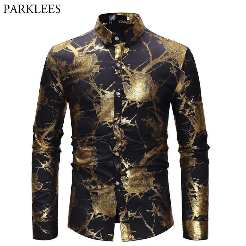 Mens Hipster Gold Rose เสื้อผู้ชายพิมพ์ลายดอกไม้ Chemise Homme 2018 แบรนด์หรู MENS ชุดเสื้อสีดำ Camisa สังคม
