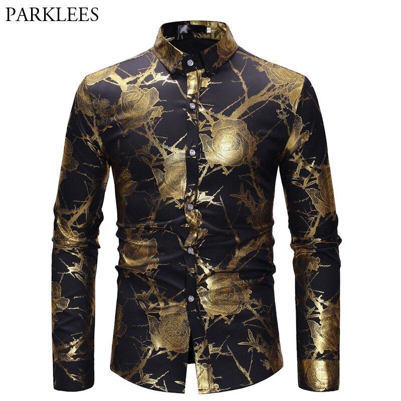 mens hipster gold rose shirt men floral print chemise. Black Bedroom Furniture Sets. Home Design Ideas