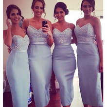 New Charming Bridesmaid Dresses Sweetheart Trumpet Satin Sexy Bridesmaid Dresses Spaghetti Straps Ankle-Length Party Dress