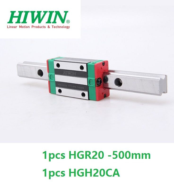 все цены на 1pcs 100% original Hiwin linear rail guide HGR20 -L 500mm + 1pcs HGH20CA linear narrow block for cnc router онлайн