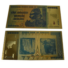 Zimbabwe One Hundred Trillion Dollars Gold Banknote 24K gold Foil Banknotes For Collection