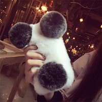 Warmful Rabbit Fur Plush Diamond TPU Soft Case For IPhone 7 7plus 6 6s Plus Samsung