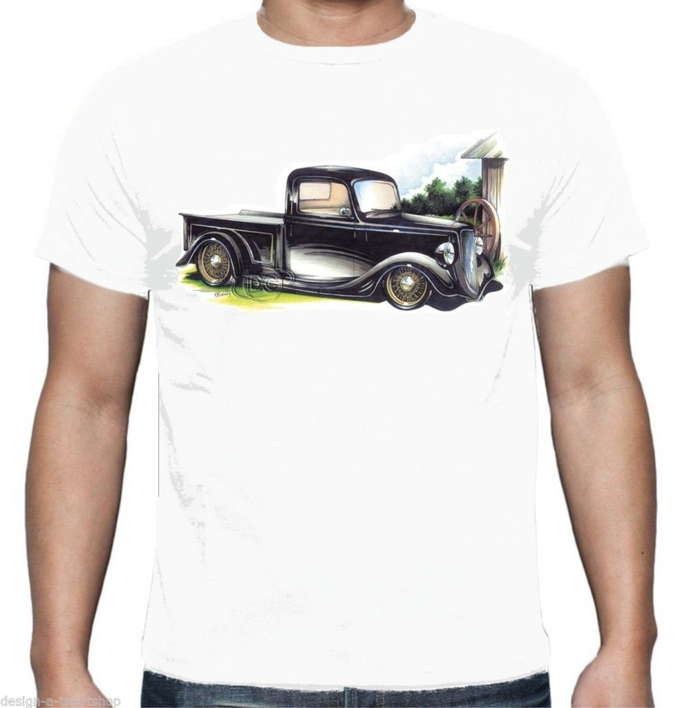2018 Fashion Funny Tops Tees Mens T-Shirt Chevy 30s Hot Rod Pick Up Truck Rat American Anime Casual Clothing-