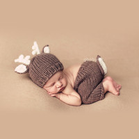 Newborn Baby Boy Photography Props Baby Boy Hat Newborn Fotografia Baby Crochet Outfits Christmas Elk Design