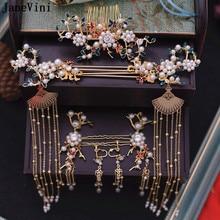 9b7b3cd966f2 JaneVini chino tradicional tocado de novia traje oro ventilador horquilla  perlas boda corona con pendientes de las mujeres acces.