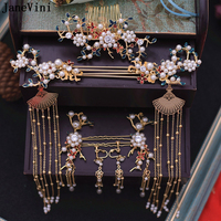JaneVini Traditional Chinese Bridal Headdress Costume Gold Fan Hairpin Pearls Wedding Crown with Earrings Women Hair Accessories