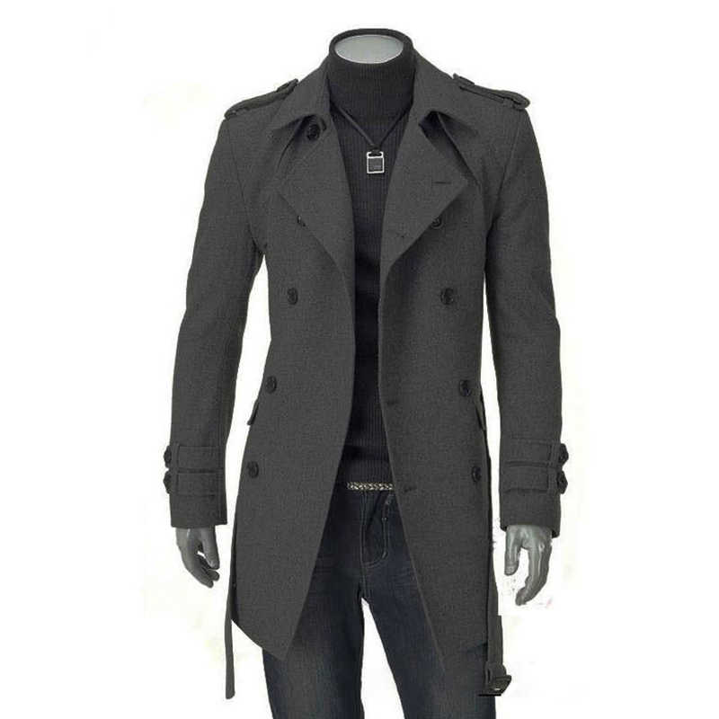 Autumn Winter Wool Coat Men Fashion Turn-down Collar Wool Blend Coat Double Breasted Jacket Overcoats With Belt Sashes