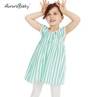 New Arrivals Summer Baby Girls Dresses Cotton Short Sleeve O neck Girls Green Cartoon Striped Dress Vest Tee Tops Kids Clothes
