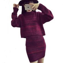 2017 Для женщин свитер и юбка комплект из двух предметов осень Топы + короткие Юбки Европа Тонкий с длинным рукавом вязаный костюм комплект из 2 частей Для женщин