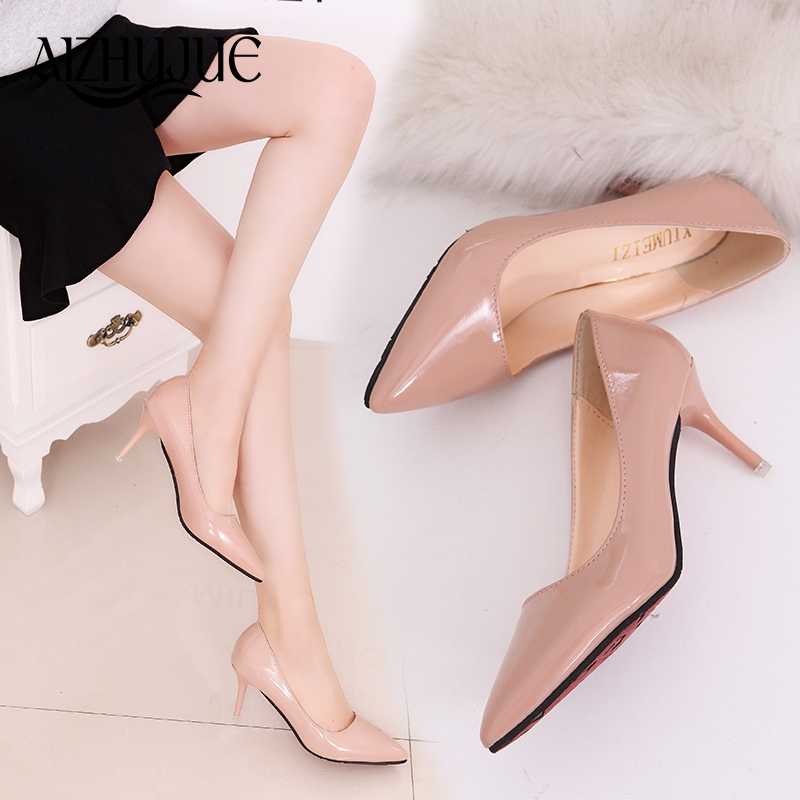 Women Pumps Sexy Pointed Toe Sweet Colorful Thin High Heels Woman Shoes Nude Women's high-heeled shoes nude fashion office heels lakeshi new fashion pumps thin sexy high heeled shoes woman pointed suede hollow out bowknot sweet elegant women shoes