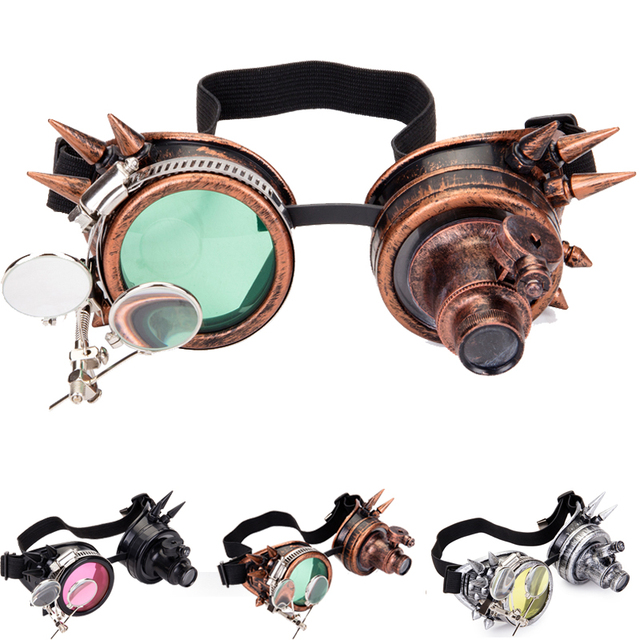 FLORATA קוספליי בציר מסמרת Steampunk משקפי משקפיים ריתוך גותי קליידוסקופ צבעוני רטרו משקפי