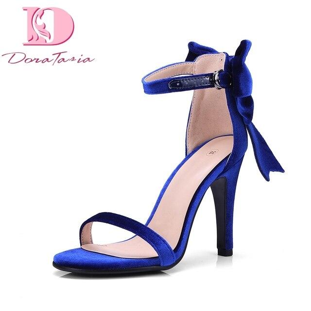 915121d43 € 26.51 41% de réduction|Doratasia bonne qualité marque chaussures Haute  Mince Talons Sexy D'été Sandales Papillon Noeud Femme Chaussures Femmes ...