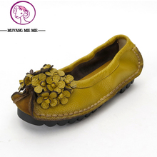 New 2017 autumn genuine leather flower shoes women soft flat casual shoes maternity shoes women's flats moccasins size 35-41