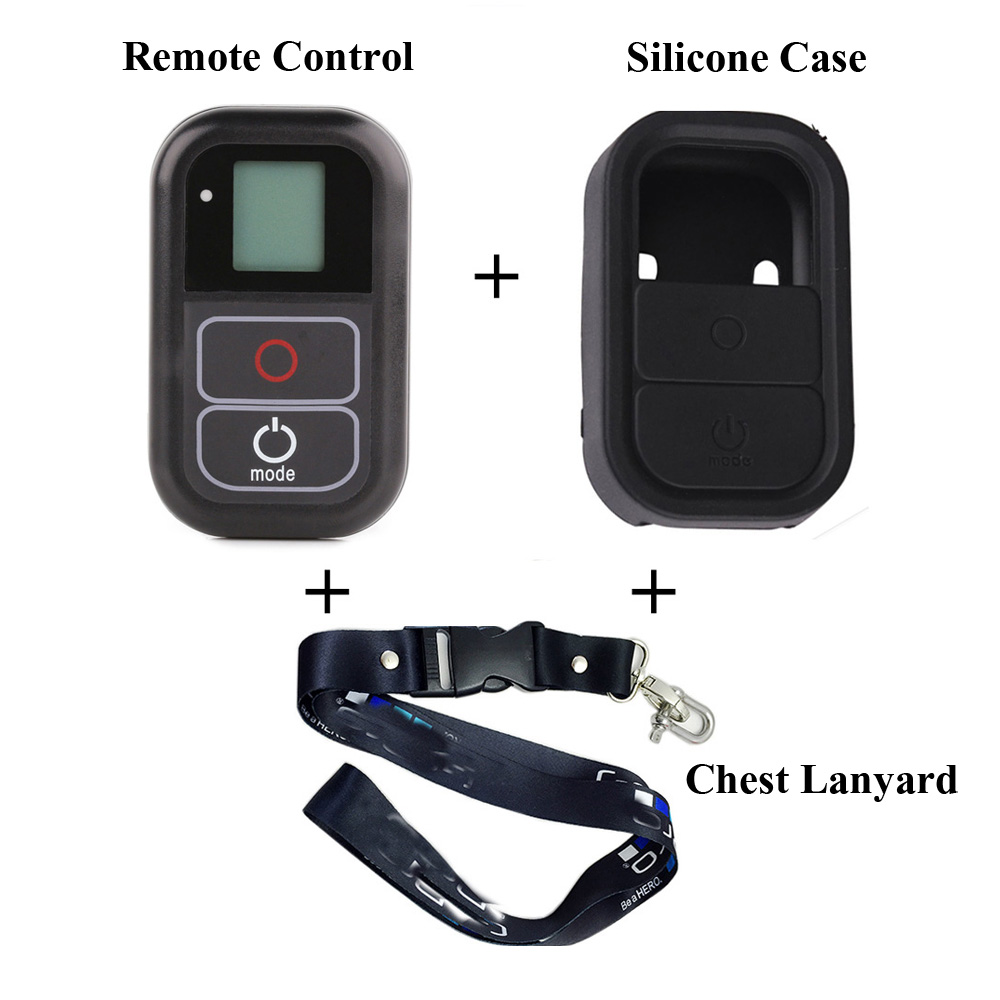 Waterproof WIFI Remote Control+Silicone Protective Case+chest lanyard strap mount For Gopro Hero 6 5 4 3+ 3 4 5 Session Camera pj 002 protective silicone case wrist band for gopro hero 3 3 wi fi remote controller red