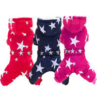 Pet Dog Clothes Print Stars Four Legs Cotton Clothes For Dogs Thick Winter Clothes For Small