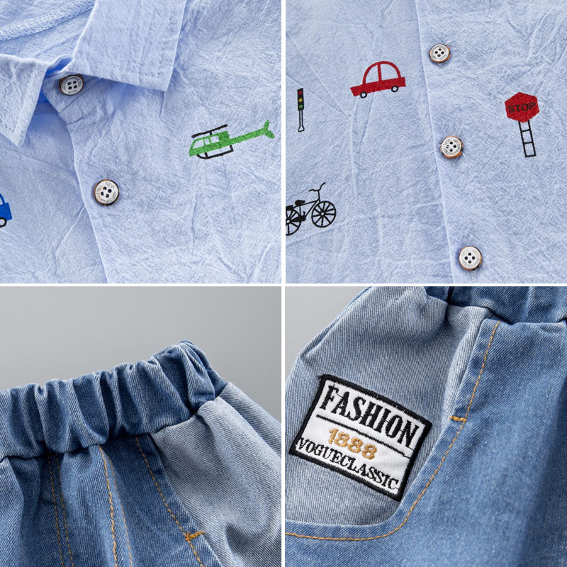 Summer Kids Toddler Boy Clothing Set Car Shirt Jeans 1 2 3 4 Years Short Sleeve Cotton Suit Children Clothes Boys Outfit 5