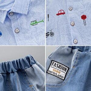 Image 5 - קיץ ילדים פעוט ילד בגדי סט רכב חולצה ג ינס 1 2 3 4 שנים קצר שרוול כותנה חליפת ילדי בגדים בני תלבושת