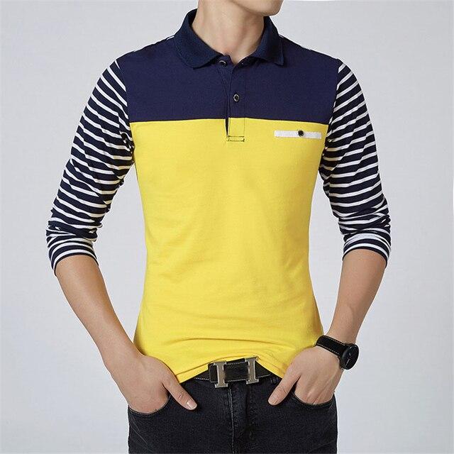 d83e329261 ARCSINX Long Sleeve Polo Shirt Men Plus Size 5XL 4XL 3XL Fashion Slim Fit  Polo Men Polo Shirt Striped Cotton Polos Men Big Size