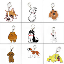 5PCS/LOT Pet Dogs Pendant Charms Poodle Bulldog Husky Chihuahua Bag Charms for Jewelry Making Supplies for Jewelry
