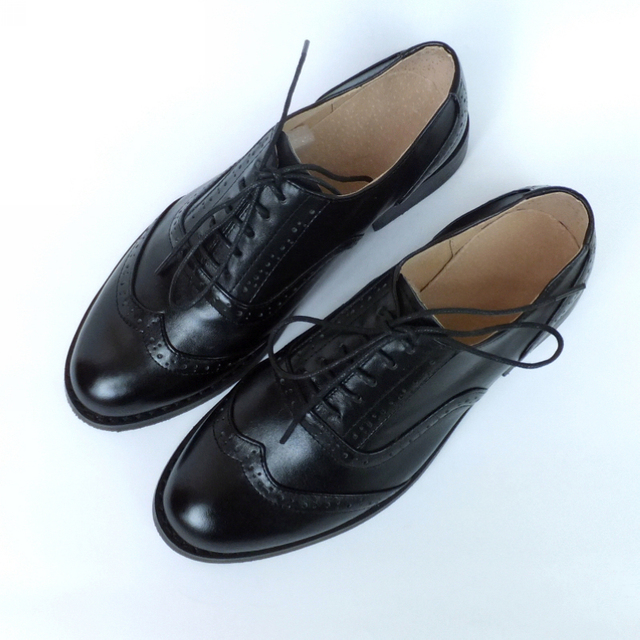 38b1e0f643136 US $38.46 44% OFF|100% Genuine leather Women's shoes British style Soft  custom handmade women's shoes Lace up black Brogues Oxfords brand shoes-in  ...