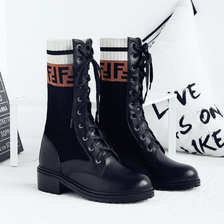 Chic Womens Round Toe Socks Letters Knitting Ankle Boots Lace Up Motorcycle Punk Shoes Retro Winter Black Brown lace up letters pattern beam feet jogger pants