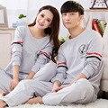 2016 Primavera y Otoño Marca casual Parejas pijama de Las Mujeres ropa de Dormir de algodón Modal traje camisetas + pantalones traje homewear