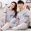 2016 Spring & Autumn Brand casual Couples Pajama sets Women Modal cotton Sleepwear suit  shirts + pants homewear suit