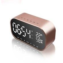 Sem fio Bluetooth Speaker Mini Speaker Portátil LED Espelho Relógio Despertador 3D Música Sistema de Som Estéreo Surround Apoio Handsfree