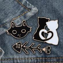 Cartoon Black White Cat Fish Bone Brooch Animal Enamel Pins for Women Men Shirts Lapel Pin Badge Couple Jewelry Lover Gift(China)